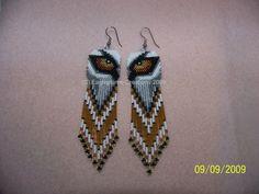 Handmade seed bead wolf eye earrings by EagleplumeCreations