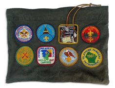 """ITEM: large zippered """"Badge Winner's"""" pouch.  MATERIALS: hand made from vintage army tent canvas with authentic camporee patches from the 60's & 70's"""