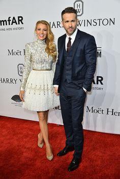 Blake Lively and Ryan Reynolds attend the amfAR gala, New York, America – 10 Feb 2016. (Erik Pendzich/REX/Shutterstock)