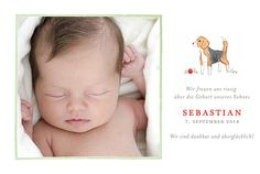 Geburtskarte Kleiner hund foto grün by Petite Alma für Rosemood.de #Hund #Süß #Geburt