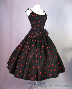 1950's flocked dots dress from Couture Allure.