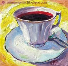 Cup of BerryBerry Tea Original Tea Cup Oil Painting by JemmasGems
