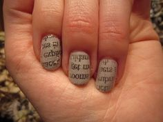 Newspaper Print Nail Art Tutorial - YouTube Good