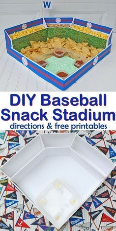 How to Make a Baseball Snack Stadium Tutorial + Pattern DIY Baseball Snack Stadium Party - Make this Baseball Snack Stadium for all your game day baseball playoffs celebrations. Perfect for a world series viewing or birthday party! Baseball Party Games, Baseball Party Decorations, Baseball Theme Birthday, Baseball Snacks, Sports Themed Birthday Party, Baseball Playoffs, Baseball Season, Sports Party, Birthday Games