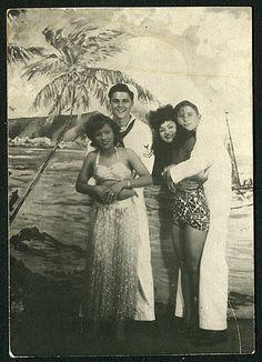 US Navy Sailors on liberty in Honolulu, Hawaii 1940s #vintage #tiki #hawaii