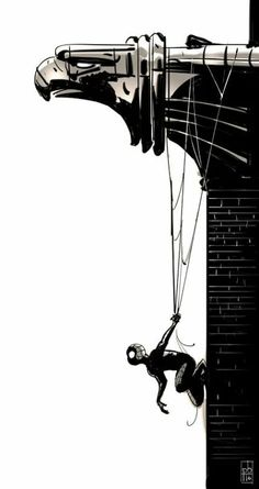 Photo: Hanging around  Art by Paul Briggs  #MarvelComics #Spider-man #FanArt