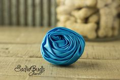 """Turquoise Rolled Satin Flower Collar Accessory - Small 1.5"""" Flower"""