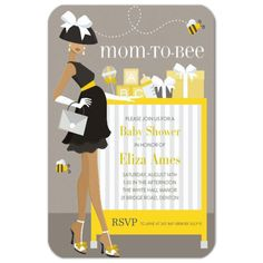 Mom To Bee African American Shower Invitations