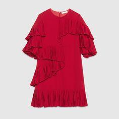 Gucci Children's red silk satin georgette dress featuring plissé ruffles.