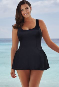 ca87667bce99f Chlorine Resistant! Aquabelle Red and Orchid Plus Size Spiced Swimsuit  catherines.com