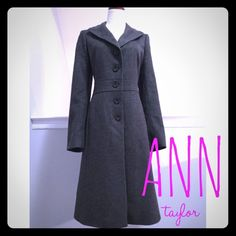 Ann Taylor Ladylike Coat in Gray This gorgeous gray coat with Ann Taylor will add a ladylike touch to any outfit this winter. Front and back seams with an inset waistband give it a feminine shape, and the color is a can't miss. It's a warm blend of wool and nylon with front on seam pockets. Fully lined. In excellent condition with no holes, stains or tears. Please ask questions before purchase as all sales are final. Ann Taylor Jackets & Coats