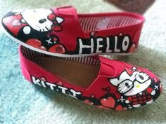 Custom Hand Painted TOMS - Hello Kitty Love On Shoes