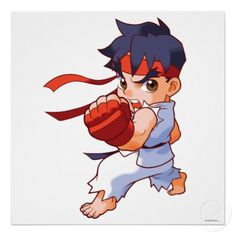 Pocket Fighter Ryu 2 Print - Street Fighter - Video game