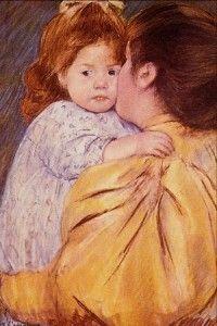 """Children in Art: Mary Cassatt """"Maternal Kiss"""" Renoir, Mary Cassatt Art, Mother And Child Reunion, Matisse, Impressionist Artists, Edgar Degas, Art Moderne, Art Themes, Mothers Love"""