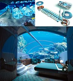 For a mere $30,000/couple per week, this would be a dream come true.  The Poseidon Undersea Resort in Fiji
