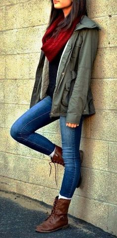 Lovely fall fashion with scarf, jacket, denim jeans and laceup boots