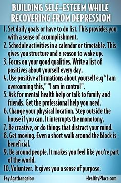 10 Tips On Building Self Esteem While Recovering From Depression happy life happiness emotions mental health depression confidence self improvement self help emotional health confidence boost confidence boosters self steem confidence boost, confidence quo Relation D Aide, Recovering From Depression, Depression Help, Depression Recovery Overcoming, Coping Skills For Depression, Depression Support, Beating Depression, Fighting Depression, Mental Health