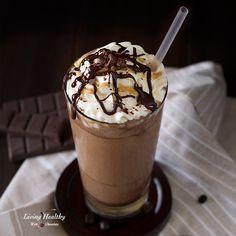 Starbucks Mocha Frappuccino Recipe (Paleo, Vegan, Dairy-free) Starbucks Mocha Frappuccino Recipe, Salted Caramel Mocha Frappuccino, Healthy Starbucks Drinks, Iced Coffee Drinks, Homemade Caramel Sauce, Homemade Almond Milk, Homemade Recipe, Chocolate Espresso, Melting Chocolate
