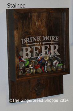 Drink more BEER/Bottle Cap Holder/Bottle Opener/Beer Decor/Bar Decor/Father's Day/Man Gift/Engraved on Etsy, $45.00