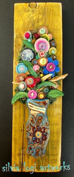 #flowers #wood #buttons #natural #mosaic, see more on my fb page https://www.facebook.com/pages/Silvia-Logi-Artworks/121475337893535?fref=ts