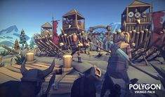 A low poly asset pack of characters, buildings, props, items and environment assets to create a fantasy based polygonal style game. Modular sections are easy to piece together in a variety of combinations. Includes a demo scene (Character poses indicative only) 221 unique assets with x4 alternative texture colours. - Customizable Viking Boat - Fishing Boat - Modular Buildings - Mountains x3 - Table - Seat - Fish Pile - Modular Beach sections - Dirt mounds - Glacier Ice Chunks x4 - Floatin...