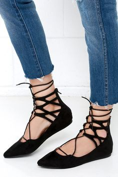 Ballet Barre Black Suede Lace-Up Flats