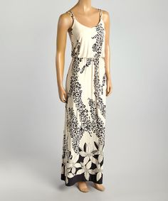 Take a look at the Beige & Black Jungle Blossom Maxi Dress on #zulily today!
