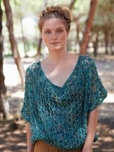 Lake - Knit this womens oversized openwork tee from the Silkystones Collection, designed by Marie Wallin using the sumptuous yarn, Silkystones (sil...