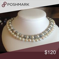 Grey and white pearl necklace Fancy grey and white two strand necklace Jewelry Necklaces