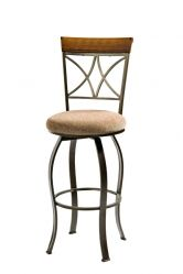 """Hamilton Swivel Bar Stool in Cherry with Metal Powell Hamilton Swivel Bar Stool features a diamond shaped back and slight curved legs. The top of the back piece is a sleek """"Brushed Faux Medium Cherry"""" wood, while the frame is a """"Matte Pewter an"""