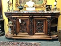 """Antique Henry II French Style Walnut Carved Sideboard With Marble Top  83"""" Wide x 25.5"""" Deep x 40.5"""" High  $4,500  #84424  Forestwood Antique Mall 5333 Forest Lane Dallas, Texas 75244  Dealer #888"""