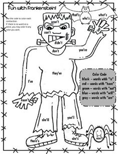 This little freebie is a sample from my Halloween Color by Code and Solve Riddles packet. Included are 2 fun printable activities. The first is a Frankenstein Color the Contractions using the color code, and the second is solving a riddle (Halloween Joke) by writing the number that is one more or one less using 3-digit numbers.