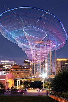 Public sculpture entitled Her Secret is Patience, by artist Janet Echelman located in downtown Phoenix.