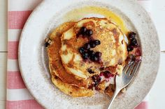 Super Easy Vegan  Blueberry Pancakes . This recipe is adaptable to a variety of dietary needs. You can substitute spelt or gluten-free or use oat or almond milk in place of soymilk. Serve with pure maple syrup.