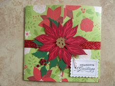 Seasons Greetings/Christmas Poinsettia Card by PatsPaperCrafts on Etsy
