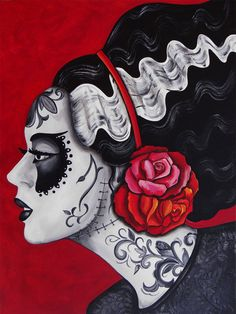 "Day of the Dead art by Melody Smith - ""Franky's Bride"" Bride of Frankenstein"