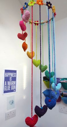 Hearts and Flowers mobile.  Anew look for the Hearts and Flowers Garland Pattern  https://www.etsy.com/listing/104936247/hearts-and-flowers-crochet-garland