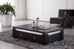 Perfect Living Room Decoration Idea with Black Contemporary Coffee Table on Grey Carpet Couchtisch - Stylish Coffee Table, Simple Coffee Table, Coffee Table With Storage, Coffee Table Design, Modern Coffee Tables, Table Storage, Modern Table, Modern Sofa, Storage Drawers