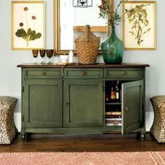 Shop for a stylish sideboard or kitchen pantry storage buffet. Find your favorite casual table or server for the dining room, behind a sofa or in the entry. Shop sideboards and kitchen and kitchen storage furniture at Ballard Designs today! Side Board, Furniture Makeover, Diy Furniture, Furniture Storage, Chalk Paint Furniture, Green Painted Furniture, Colorful Furniture, Wooden Case, Ballard Designs