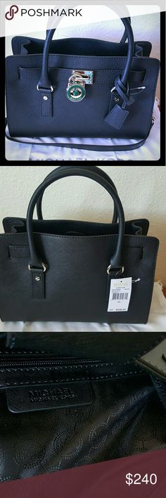 """PRICE REDUCTION!! Michael Kors Hamilton Medium I'm selling a new with tag Authentic Michael Kors Hamilton Saffiano medium satchel. Black with silver accents. It comes with dust bag.  Measurement's - 12.75"""" X 9.9"""" X 5.5"""" MICHAEL Michael Kors Bags Satchels"""