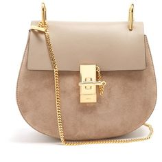 Chloé Drew small suede and leather cross-body bag (56.100 UYU) ❤ liked on Polyvore featuring bags, handbags, shoulder bags, purses, handbags crossbody, leather hand bags, leather cross body purse, chloe crossbody and leather purses