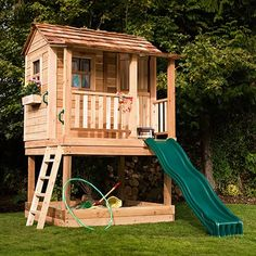 Outdoor Living Today LCP66SBOX 6-ft x 6-ft Little Cedar Playhouse with Sandbox (Actual Size: 5.96-ft x 6.33-ft)