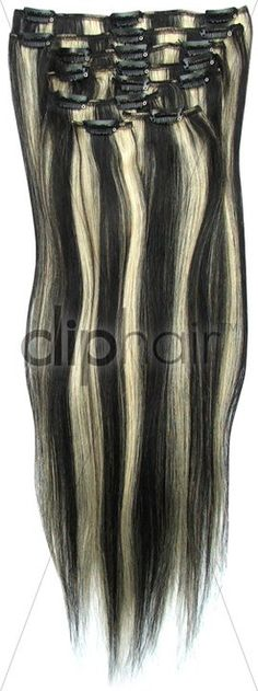 Double weft full head clip in hair extensions i funky shades full head clip in hair extensions colour 1b 613 natural black bleach pmusecretfo Gallery