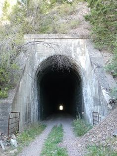 Abandoned railroad tunnel in Montana.  rails were removed