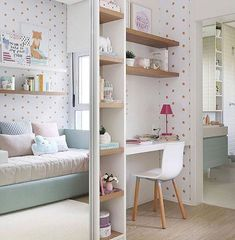 If you're using a spare bedroom that also doubles up as a guest bedroom, it's easy to design a compact home office that doesn't intrude on the space Baby Bedroom, Girls Bedroom, Bedroom Decor, 6 Year Old Girl Bedroom, My Room, Girl Room, Design Apartment, Teenage Room, Beautiful Bedrooms