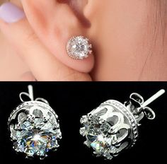 Crown diamond stud earrings .. I wouldn't wear them, I'm not that girly ... but how cool is that?? They're CROWNS!!!!