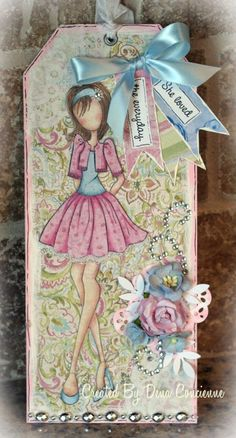 cute Prima Julie Nutting tag. For My handmade greeting cards visit me at My Personal blog: http://stampingwithbibiana.blogspot.com/