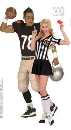 American Sports Couple Costumes | Fancy Dress Forever. If your looking for an American or Sport couples fancy dress costumes to wear, then these American Football Player and Foul Play Ref costumes are for you!