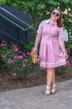 Pink Seersucker Dress - Scrubs & Sparkles Fashion Blog