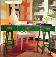 "via vivid hue home. ""A bright, fun interpretation of a classic piece. The Kelley campaign desk in green at Lilly Pulitzer Home"" Campaign Desk, Campaign Furniture, Lacquer Furniture, Painted Furniture, Amy Howard Paint, Mirror Kit, Green Desk, Cozy Nook, Color Of The Year"